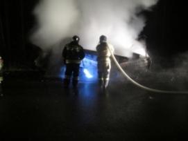 «Газель» загорелась во время движения на трассе в Нижегородской области