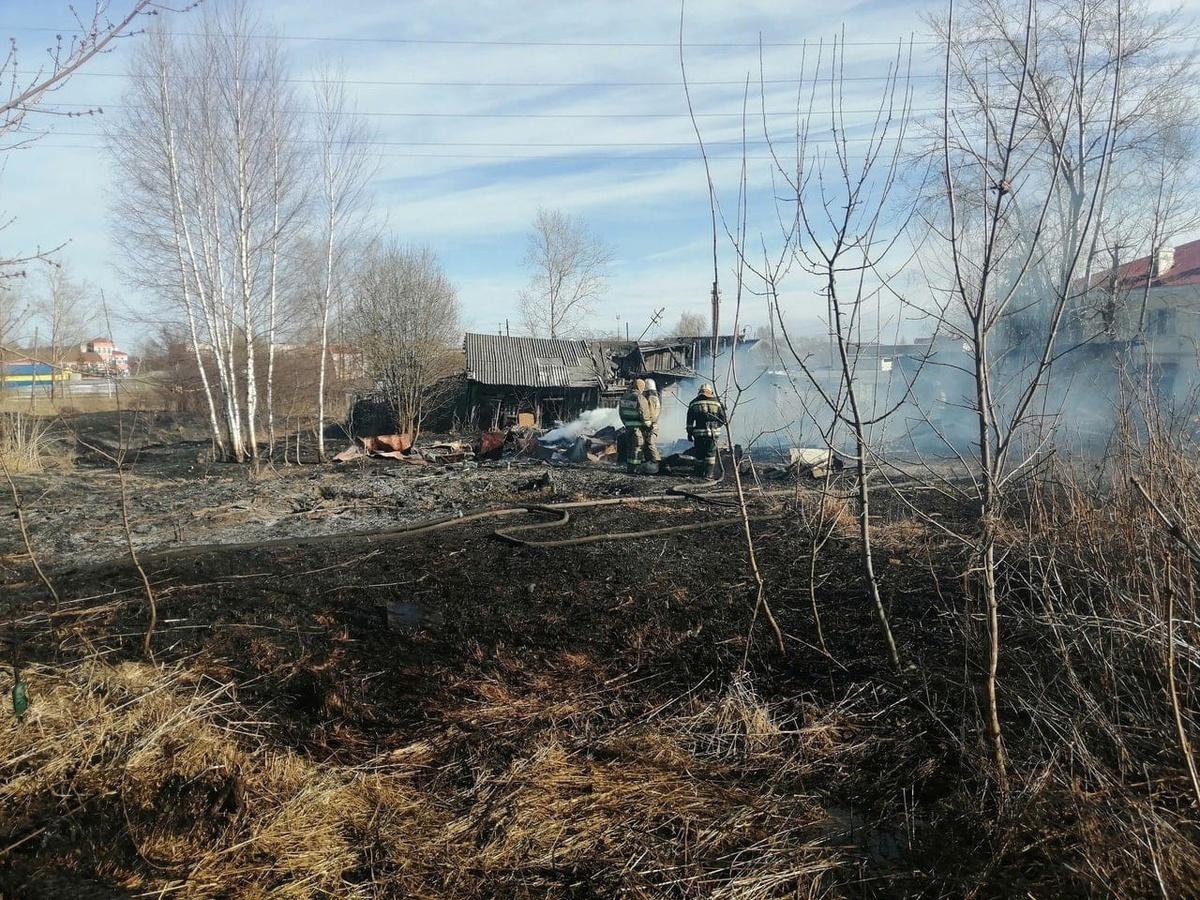 Восемь домов сгорели в Богородском районе из-за вспыхнувшей травы - фото 1